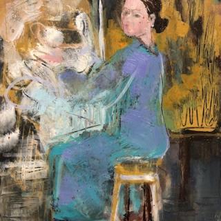 L'artiste assise  12,6x18 h/c