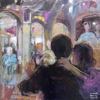 A la guinguette (couple dansant) au Martin Pêcheur. 49,5x51 h/c