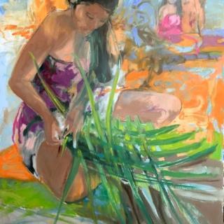 Gauguine au tressage  80x120 h/c