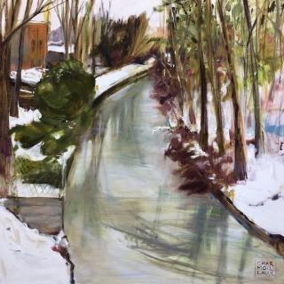 Ile de Sainte Catherine sous la neige 100x100  h/t