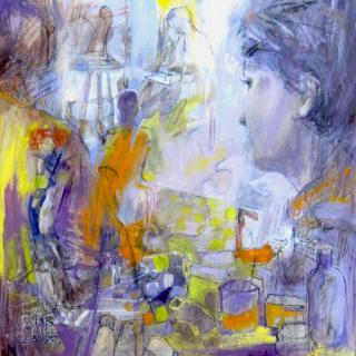 L'artiste dans l'atelier  80x80  h/t